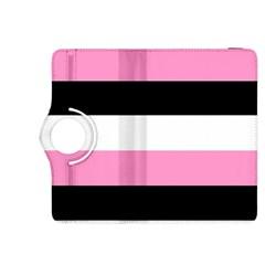 Black, Pink And White Stripes  By Celeste Khoncepts Com 20x28 Kindle Fire Hdx 8 9  Flip 360 Case