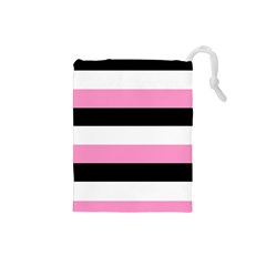 Black, Pink And White Stripes  By Celeste Khoncepts Com 20x28 Drawstring Pouch (Small)