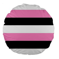 Black, Pink And White Stripes  By Celeste Khoncepts Com 20x28 Large Flano Round Cushion