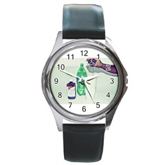 Dirty $prite Round Leather Watch (silver Rim)