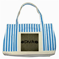 Diva Blk Glitter Lips Blue Striped Tote Bag
