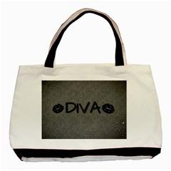 Diva Blk Glitter Lips Twin Sided Black Tote Bag