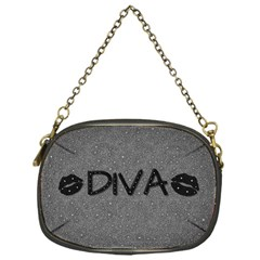 Diva Blk Glitter Lips Chain Purse (one Side)
