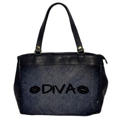 Diva Blk Glitter Lips Oversize Office Handbag (one Side)