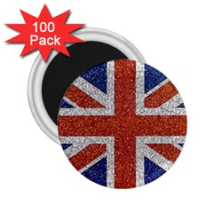 England Flag Grunge Style Print 2 25  Button Magnet (100 Pack)