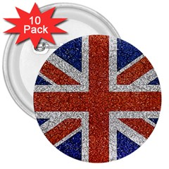 England Flag Grunge Style Print 3  Button (10 Pack)
