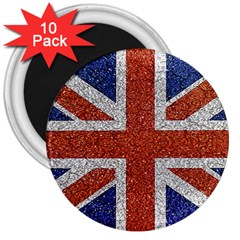 England Flag Grunge Style Print 3  Button Magnet (10 Pack)