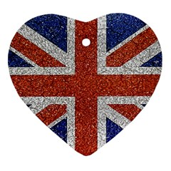 England Flag Grunge Style Print Heart Ornament (two Sides)