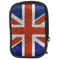 England Flag Grunge Style Print Compact Camera Leather Case