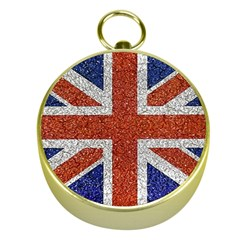 England Flag Grunge Style Print Gold Compass