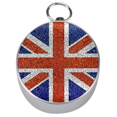 England Flag Grunge Style Print Silver Compass