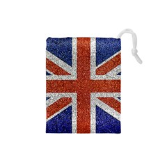 England Flag Grunge Style Print Drawstring Pouch (small)