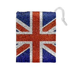 England Flag Grunge Style Print Drawstring Pouch (Large)