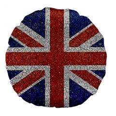 England Flag Grunge Style Print Large Flano Round Cushion