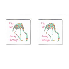 F Is For Funky Flamingo Cufflinks (square)