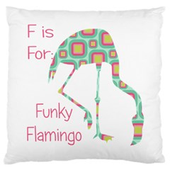 F Is For Funky Flamingo Large Cushion Case (single Sided)