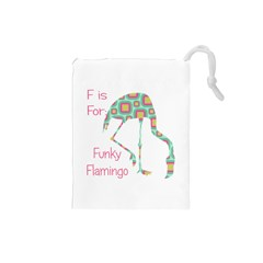 F Is For Funky Flamingo Drawstring Pouch (Small)