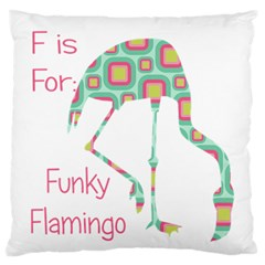 F Is For Funky Flamingo Large Flano Cushion Case (One Side)