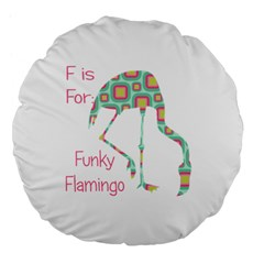 F Is For Funky Flamingo Large Flano Round Cushion