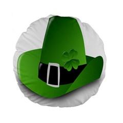 Irish Shamrock Hat152049 640 15  Premium Flano Round Cushion