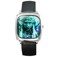 Magical Indian Chief Square Leather Watch