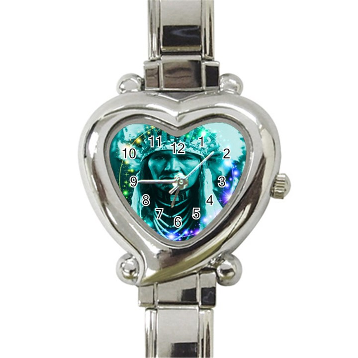 Magical Indian Chief Heart Italian Charm Watch
