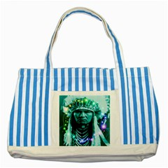 Magical Indian Chief Blue Striped Tote Bag