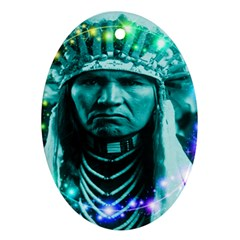 Magical Indian Chief Oval Ornament (two Sides)