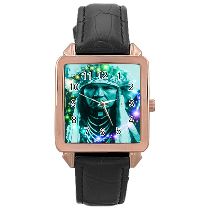 Magical Indian Chief Rose Gold Leather Watch