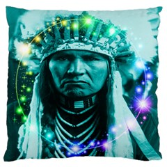 Magical Indian Chief Large Flano Cushion Case (one Side)