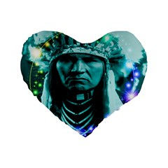 Magical Indian Chief 16  Premium Flano Heart Shape Cushion