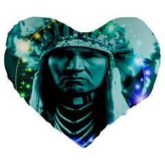 Magical Indian Chief 19  Premium Flano Heart Shape Cushion