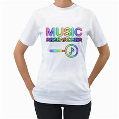 Music Researcher Colorful Women s T-Shirt (White)