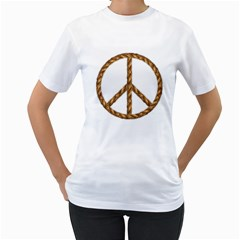 Peace,love,music Rope Women s T Shirt (white)