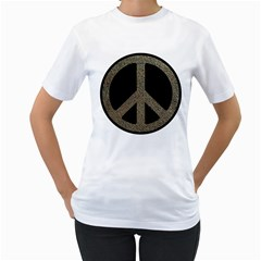 Peace,love,music Rusty Sign Women s T Shirt (white)