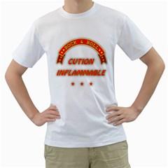Rock Caution Men s T Shirt (white)