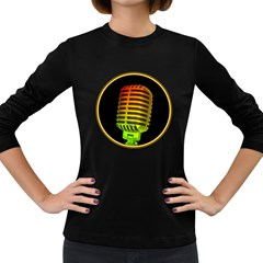 Vintage Microphone Colorful Women s Long Sleeve T-shirt (Dark Colored)
