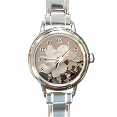 White Rose Vintage Style Photo In Ocher Colors Round Italian Charm Watch