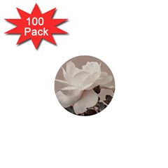 White Rose Vintage Style Photo In Ocher Colors 1  Mini Button (100 Pack)
