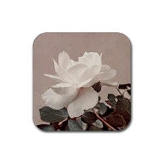 White Rose Vintage Style Photo In Ocher Colors Drink Coasters 4 Pack (square)