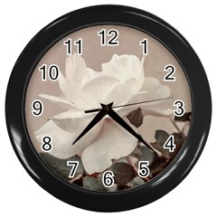 White Rose Vintage Style Photo In Ocher Colors Wall Clock (black)
