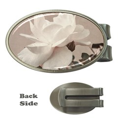 White Rose Vintage Style Photo In Ocher Colors Money Clip (oval)