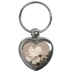 White Rose Vintage Style Photo In Ocher Colors Key Chain (heart)
