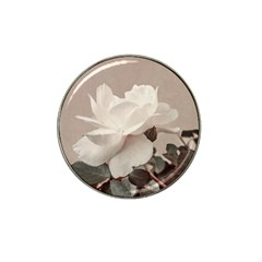 White Rose Vintage Style Photo In Ocher Colors Golf Ball Marker 4 Pack (for Hat Clip)