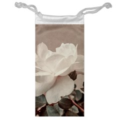 White Rose Vintage Style Photo In Ocher Colors Jewelry Bag