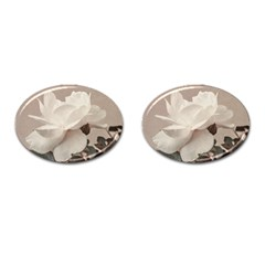 White Rose Vintage Style Photo In Ocher Colors Cufflinks (oval)