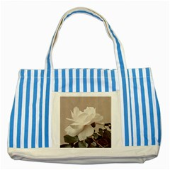 White Rose Vintage Style Photo in Ocher Colors Blue Striped Tote Bag
