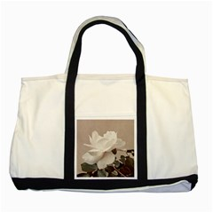 White Rose Vintage Style Photo in Ocher Colors Two Toned Tote Bag