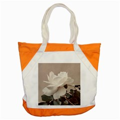 White Rose Vintage Style Photo In Ocher Colors Accent Tote Bag