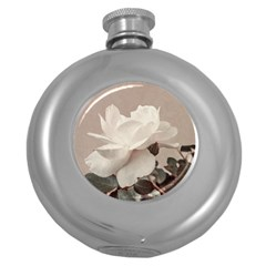 White Rose Vintage Style Photo In Ocher Colors Hip Flask (round)